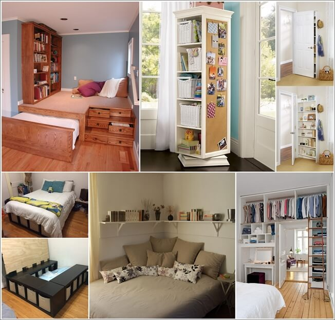 Storage ideas for a small bedroom fancy diy art for Tiny apartment storage ideas
